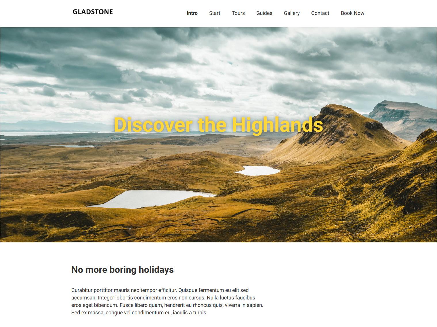 Website-Vorschau »Landingpage« des Templates »Gladstone Pro«