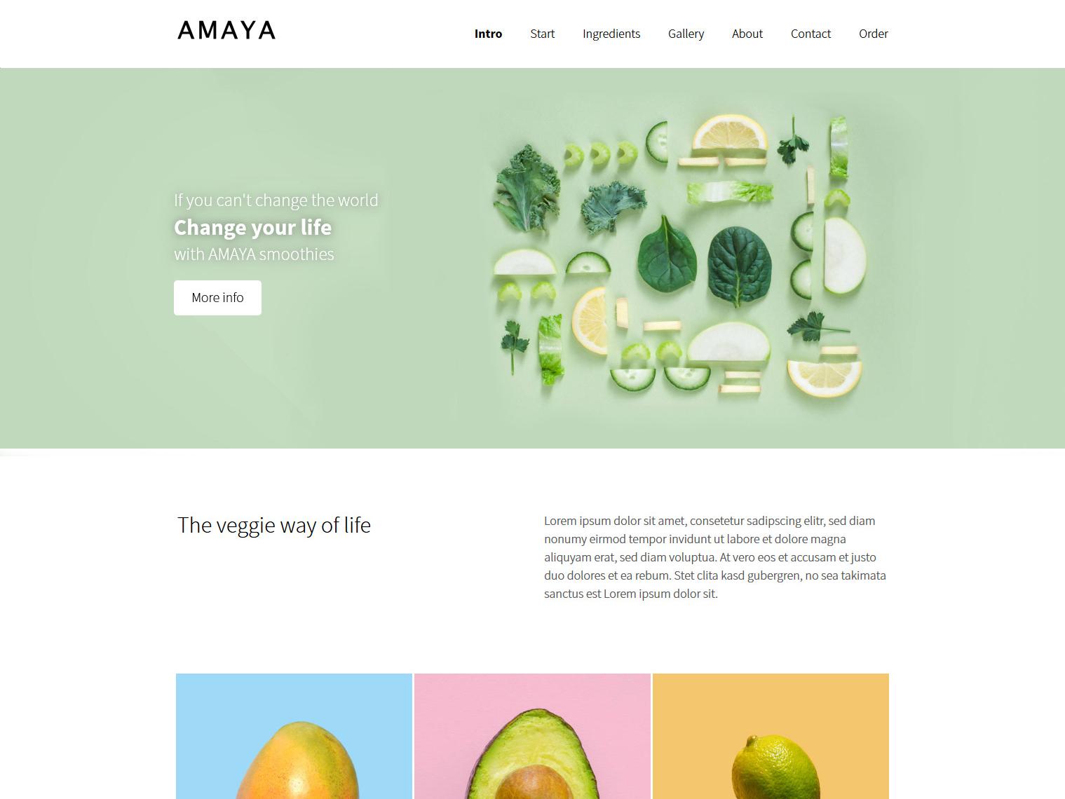 Website-Vorschau »Landingpage« des Templates »Amaya Pro«