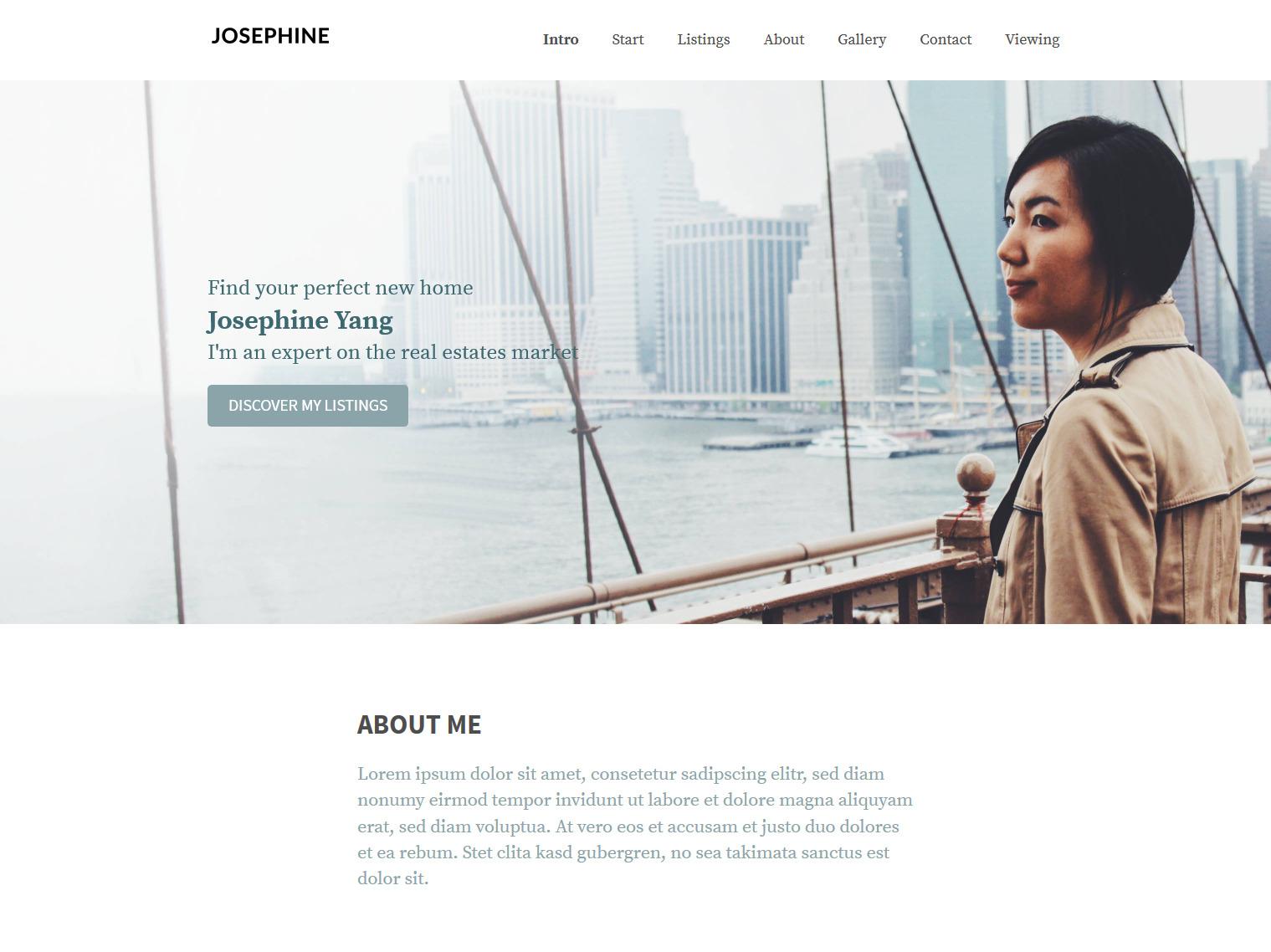 Website-Vorschau »Landingpage« des Templates »Josephine Pro«
