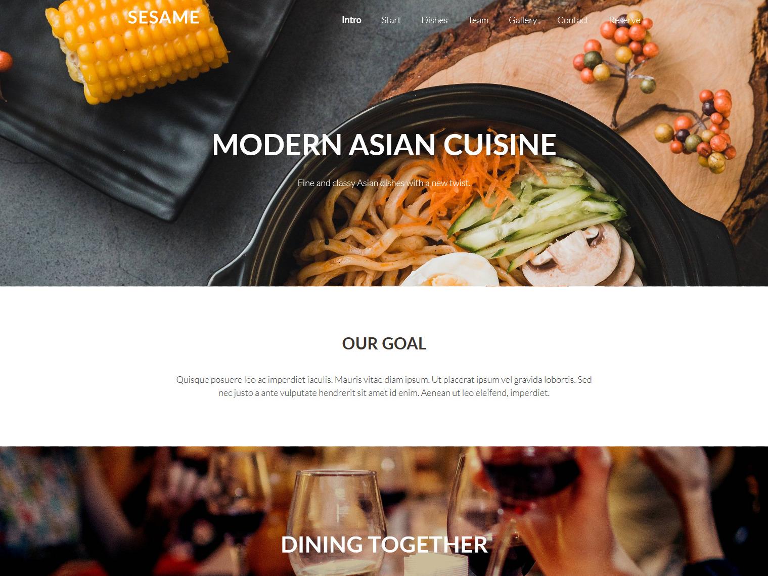 Website-Vorschau »Landingpage« des Templates »Sesame Pro«