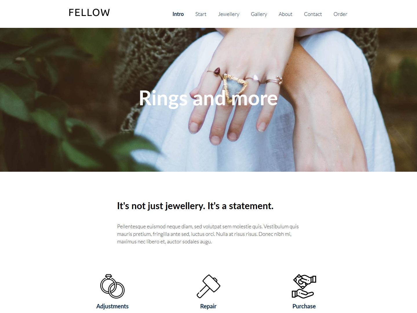 Website-Vorschau »Landingpage« des Templates »Fellow Pro«