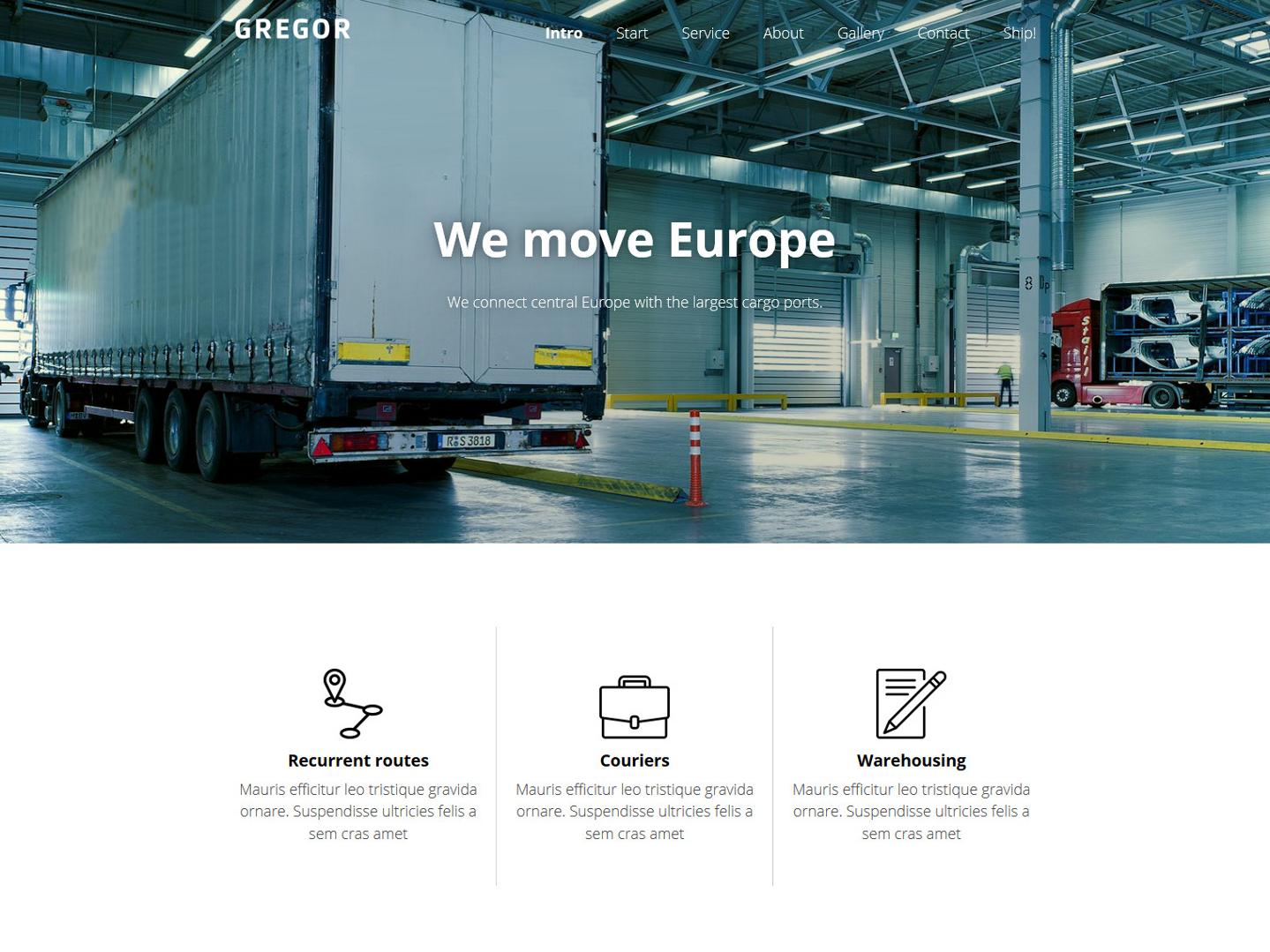 Website-Vorschau »Landingpage« des Templates »Gregor Pro«