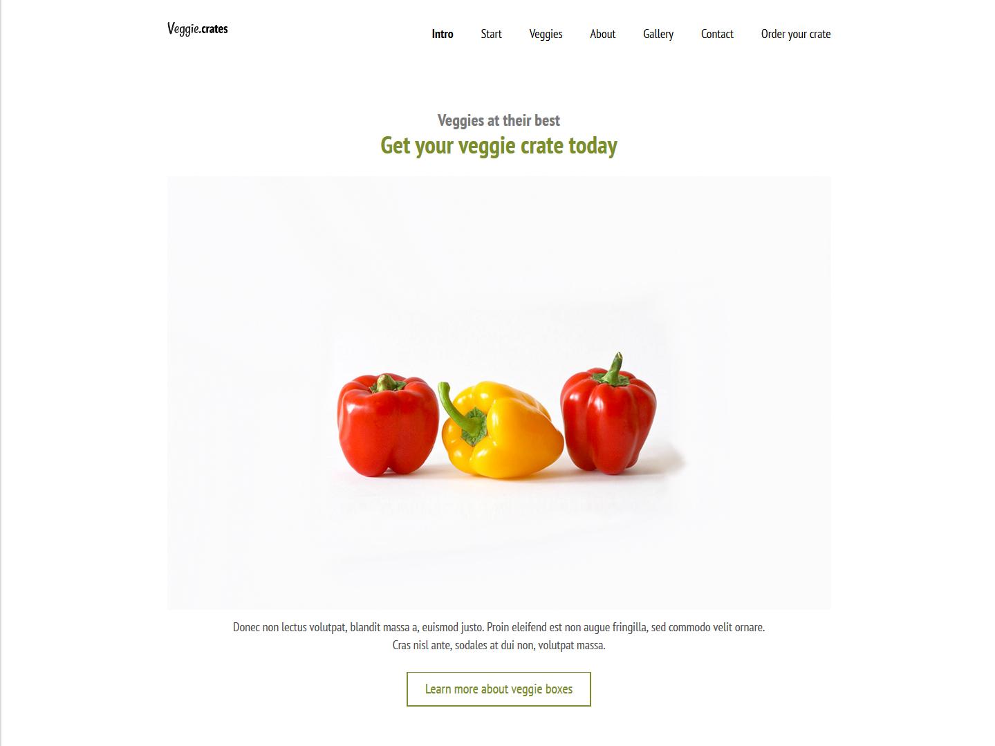 Website-Vorschau »Landingpage« des Templates »Veggie Pro«