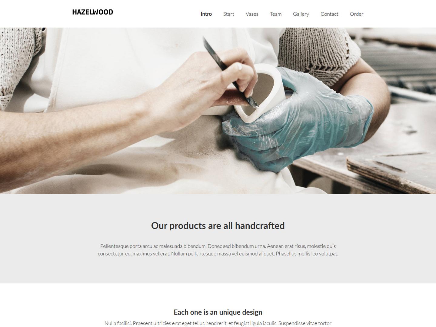 Website-Vorschau »Landingpage« des Templates »Hazelwood Pro«