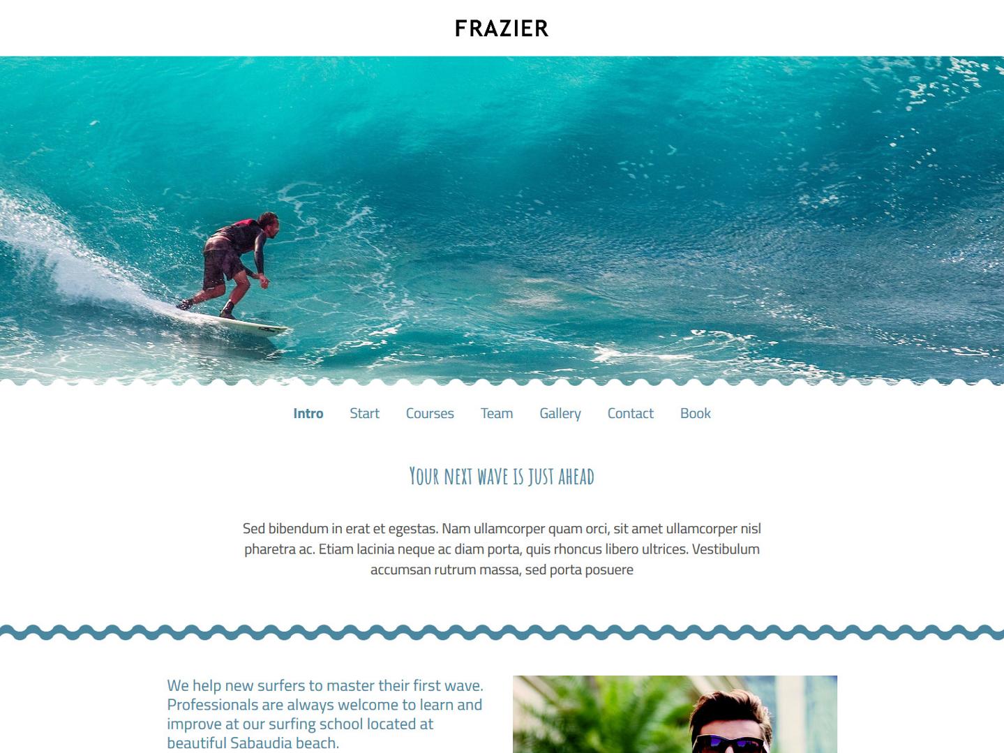 Website-Vorschau »Landingpage« des Templates »Frazier Pro«