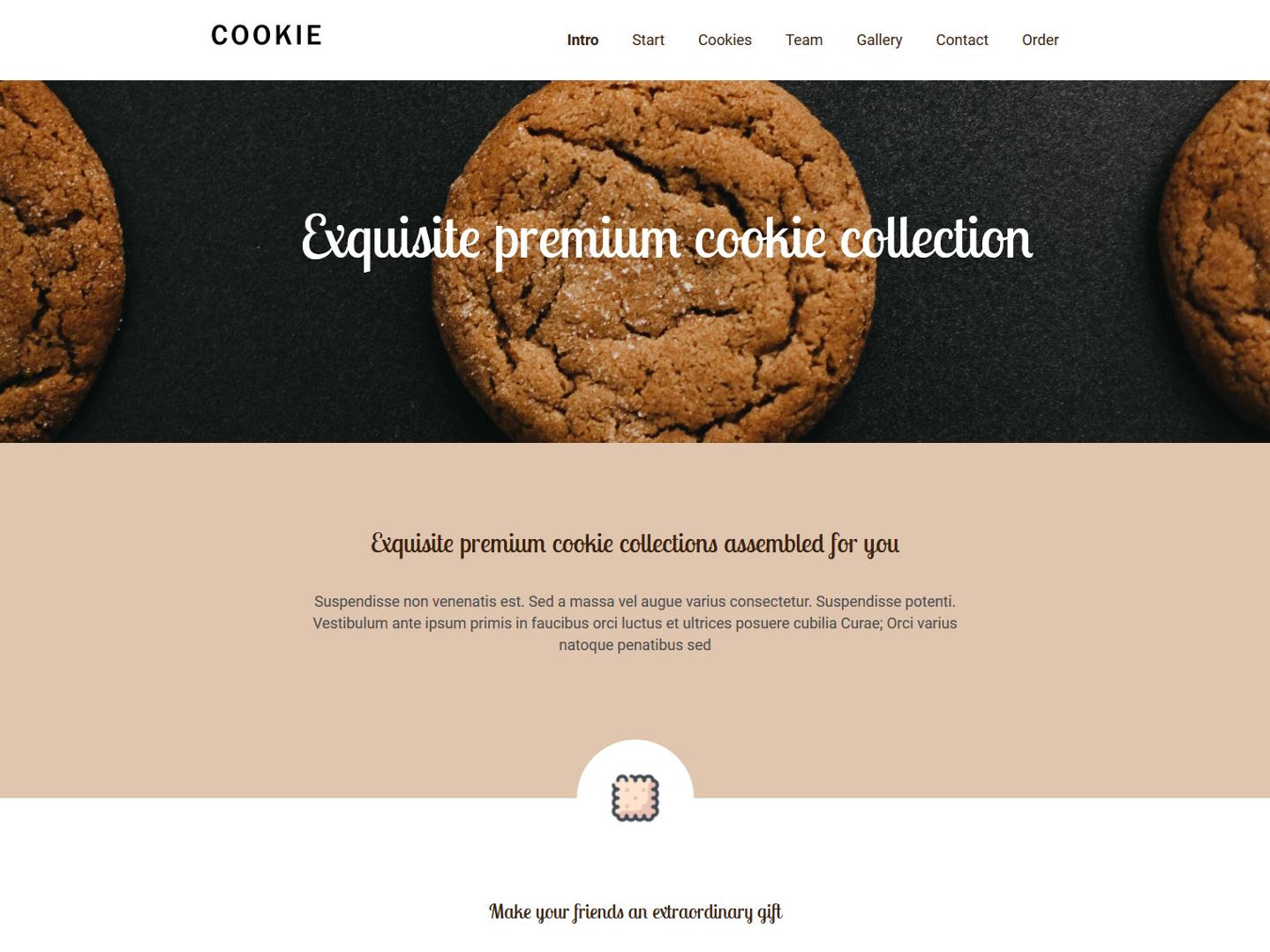 Website-Vorschau »Landingpage« des Templates »Cookie Pro«