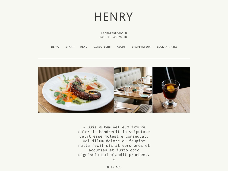 Website-Vorschau »Landingpage« des Templates »Henry Pro«