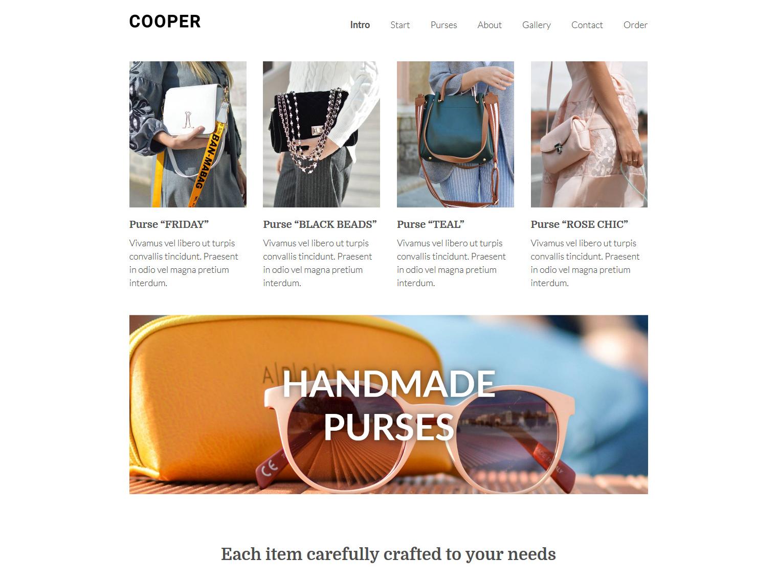 Website-Vorschau »Landingpage« des Templates »Cooper Pro«