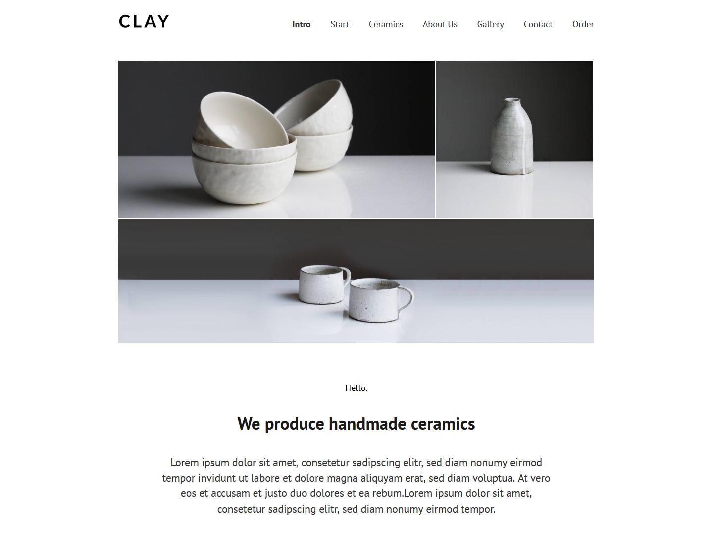 Website-Vorschau »Landingpage« des Templates »Clay Pro«